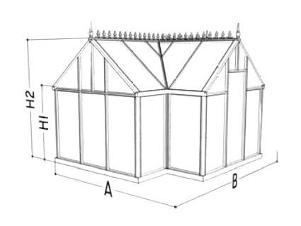 Gewächshaus Junior T-Modell Skizze